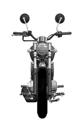 it seems to have a air-cooled V-Twin, probably around 250, in a modest frame wrapped in shapely style coffee pilot miniature.
